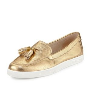 Michael Kors Callahan Gold Metallic Leather Loafer